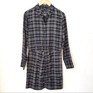 Theory Asymmetrical Plaid Silk Shirt Dress